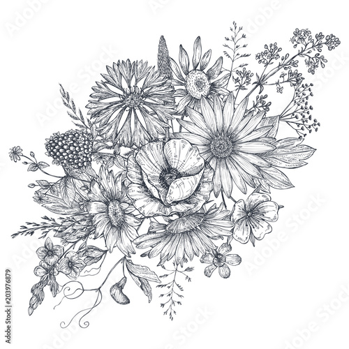 Floral composition. Bouquet with hand drawn flowers and plants. - 203976879
