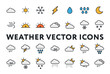 Weather Forecast Meteorology Icons Set. Sun, Snow, Cloud, Rain, Storm, Sunrise, Dawn, Moon, Wind. Minimal Color Flat Line Outline Stroke Pictograms.