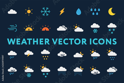 Fototapeta Weather Forecast Meteorology Icons Set. Sun, Snow, Cloud, Rain, Storm, Sunrise, Dawn, Moon, Wind. Minimal Flat Pictograms on a Dark Background.