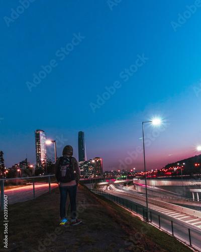 Plexiglas Nacht snelweg autoretrato