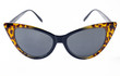 Sunglasses in the shape of cat's eye, black frame and brown leopard tips, white background.