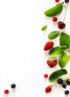 healthy summer fruit food background; sweet fresh fruit on white background