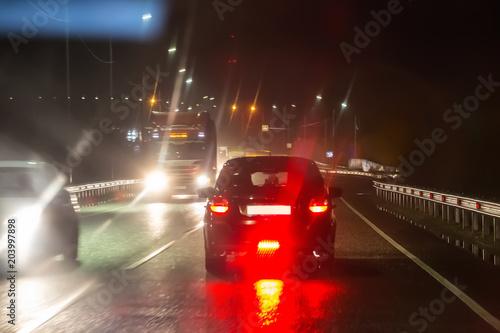 Plexiglas Nacht snelweg Traffic Cars at Night