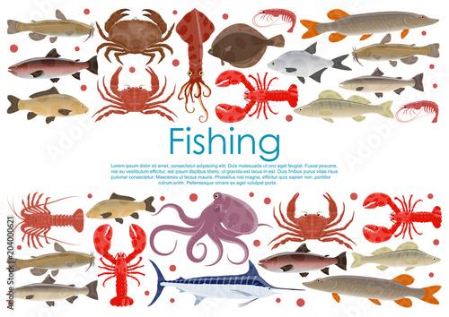 Vector seafood fishing poster of fresh fish