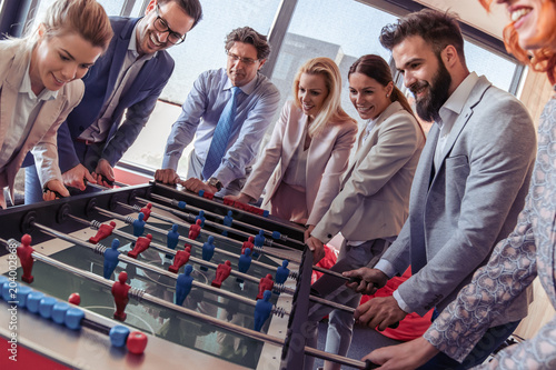 Fototapeta Business people having great time in office