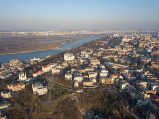Aerial view of Saint Andrew church. The old town of Kiev, the Podile district