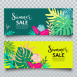 Vector Banners Summer tropical leaf sale collection design, illustration