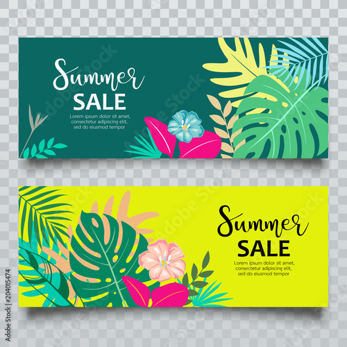 Fototapeta Vector Banners Summer tropical leaf sale collection design, illustration