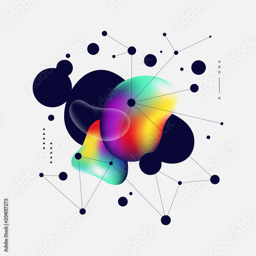 Abstract colorful gradient and geometric line art background