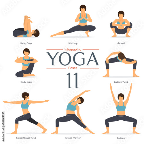 Poster Set of 8 yoga poses in flat design . Woman figures exercise in blue sportswear and black yoga pant for yoga infographics. Vector Illustration.