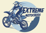 Extreme motocross badge design