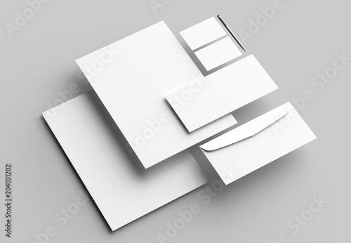 Leinwanddruck Bild Corporate identity stationery mock up isolated on gray background. 3D illustrating.