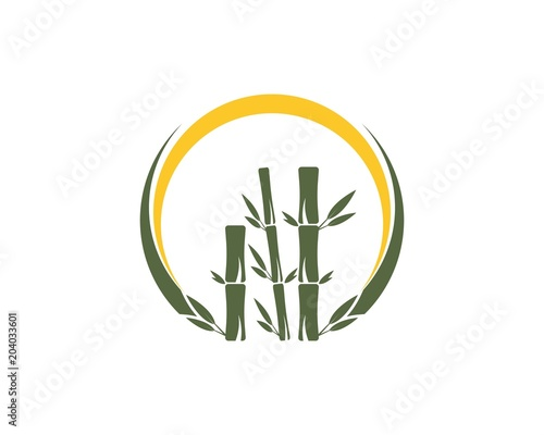 Bamboo leaf icon logo vector
