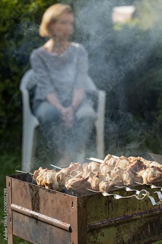 Пикник. Женщина на заднем плане ждет, когда приготовится шашлык