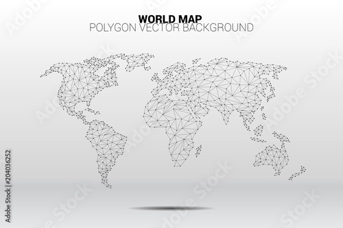 World map dot connection line polygon: concept of digital world, Data connection