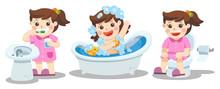 A Girl Taking A Bath Brushing Teeth Sitting On Toilet Health And Hygiene Sticker