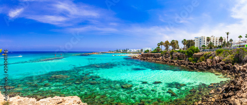 Foto Murales Summer vacation in Cyprus island. Protaras , Fig tree bay