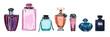 Leinwandbild Motiv Hand drawn watercolor set of different women perfume bottles