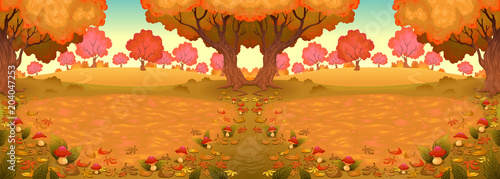 Plexiglas Kinderkamer Landscape in the wood with mushrooms, c,
