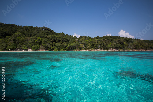 Fotobehang Tropical strand Beautiful tropical Thailand with beach, Blue Sea and White Sand