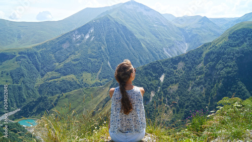 Fotobehang Blauwe jeans travelling girl