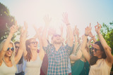Group of people dancing and having a good time at the outdoor party/music festival - 204058888