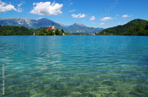 Plexiglas Blauwe jeans Lake Bled and mountains.