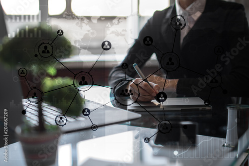 People icons structure Social network. HR. Human resources management. Business internet and technology concept.