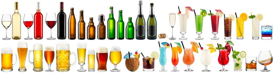 huge collection set of beverage alcoholic drinks cocktails champagne wine beer bottle glass isolated on white background © stockphoto-graf