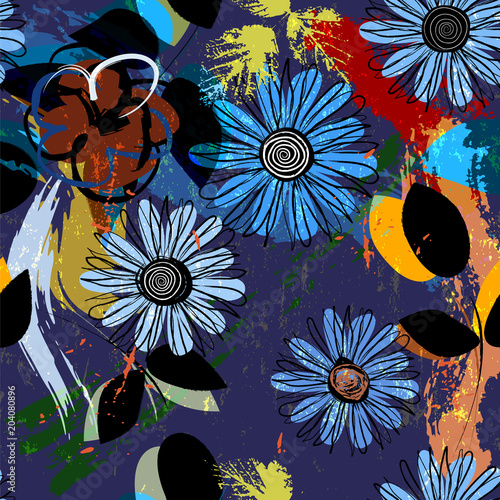 Fotobehang Abstract met Penseelstreken seamless flower pattern background, with blue cornflowers and other summer flowers