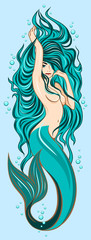 Picture of a cute mermaid with lush, long hair © Marina Andrienko