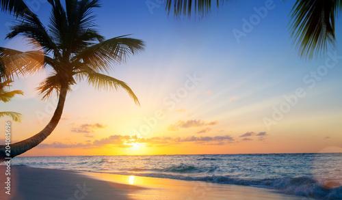Art Summer vacation drims; Beautiful sunset over the tropical beach - 204085696