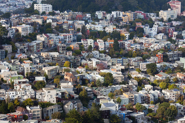 Houses on Buena Vista neighborhood, San Francisco, California, USA