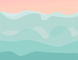 Hand drawn vector abstract cartoon summer time graphic illustrations template background with sea waves blue beach,pink sundown sunset and copy space place for your text - 204090089