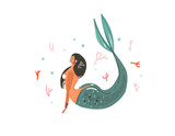 Hand drawn vector abstract cartoon graphic summer time underwater illustrations with coral reefs,fish and mermaid girl character isolated on white background - 204090403