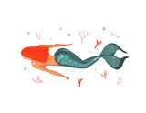 Hand drawn vector abstract cartoon graphic summer time underwater illustrations with coral reefs and swimming red hair mermaid girl character isolated on white background - 204090422