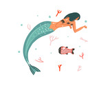 Hand drawn vector abstract cartoon graphic summer time underwater illustrations with coral reefs,fish and mermaid girl character isolated on white background - 204090459