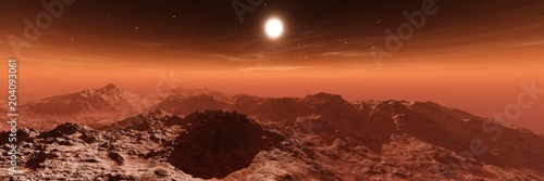 Plexiglas Rood paars alien landscape, an alien, a panorama of Mars, a Martian surface