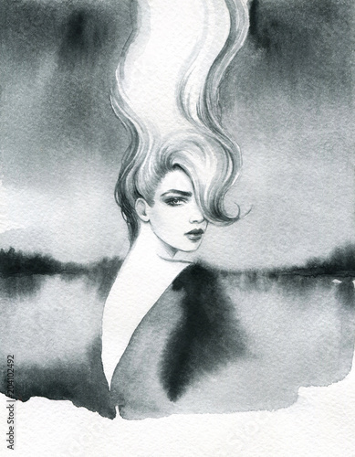 melancholy. landscape. watercolor illustration - 204102492