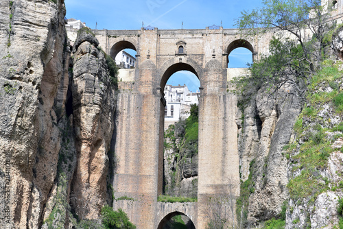 View of the Puente Nuevo (New Bridge), in the town of Ronda, Costa del Sol, Province of Malaga, Andalusia, Spain