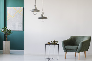 Modern room with teapot set
