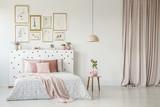 Feminine bedroom interior with gallery - 204103875