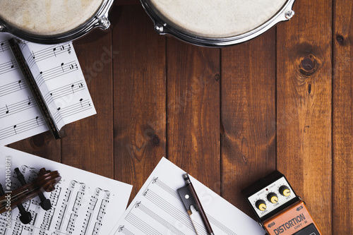 Fototapeta Sheet music and musical instruments