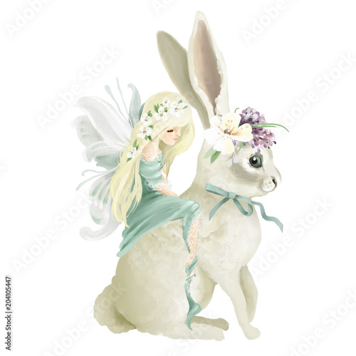 Beautiful hand painted oil fairy riding the enchanted bunny with floral bouquet, flowers wreath isolated on white © princhipessa