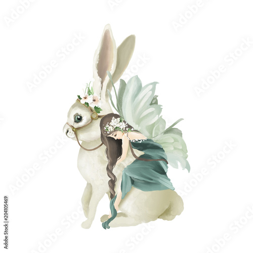 Beautiful hand painted oil fairy riding the enchanted bunny with floral bouquet, flowers wreath isolated on white - 204105469