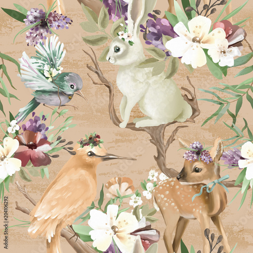 Beautiful, vintage, enchanted woodland, forest animals and birds with flowers, old wood branches and bows seamless, tileable pattern. Deer, bunny, bird, whimsical animals - 204106292