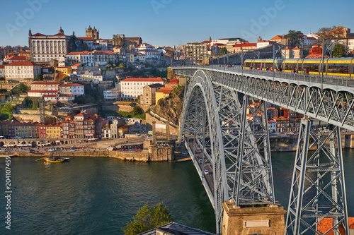 Poster Porto city and Bridge across Douro River