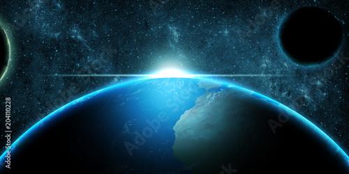 Planet Earth over deep space fantasy background © dundanim