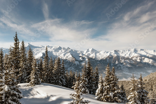 Winter View of Austrian Alps Seen From The Ski Slopes of Zell Am See