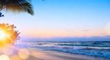 Art summer vacation drims; Beautiful sunrise over the tropical beach - 204116048